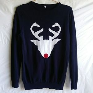 Sweaters - Navy Blue Sweater With Reindeer Print M